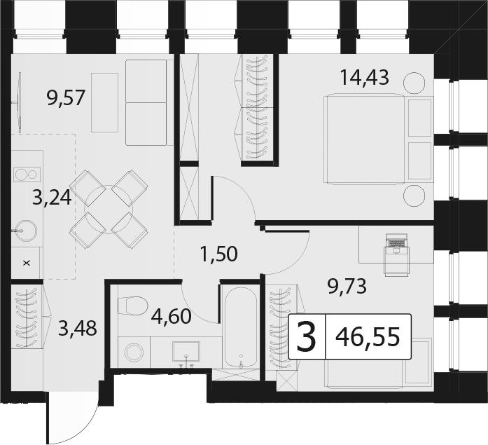 3-к.кв (евро), 46.55 м²
