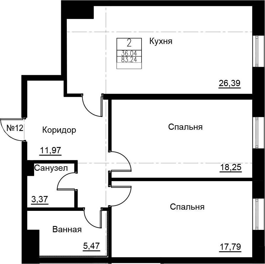 3-к.кв (евро), 83.24 м²