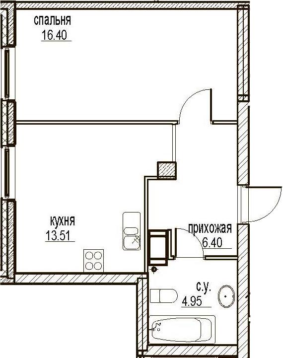 1-комнатная, 41.26 м²– 2