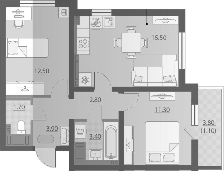 3-к.кв (евро), 54.77 м²