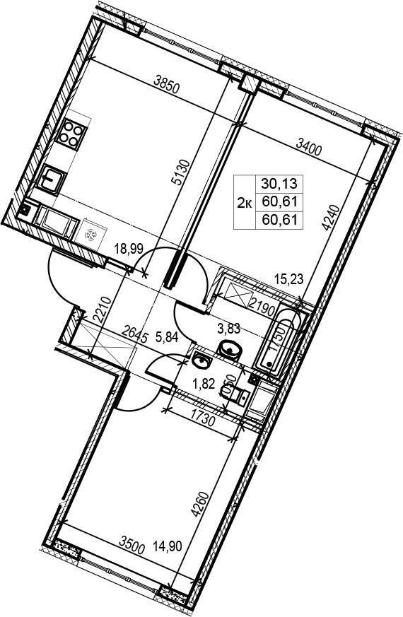 3Е-к.кв, 60.61 м², 3 этаж