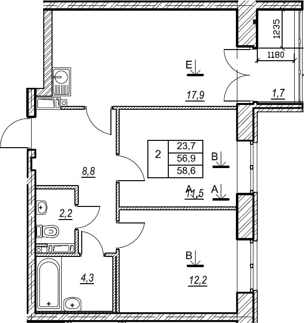 2-к.кв, 58.6 м², от 4 этажа