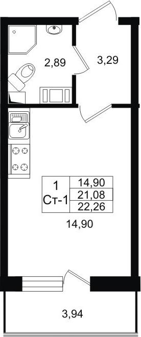Студия, 21.08 м²