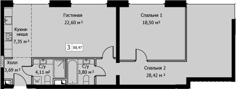 3Е-комнатная, 88.47 м²– 2