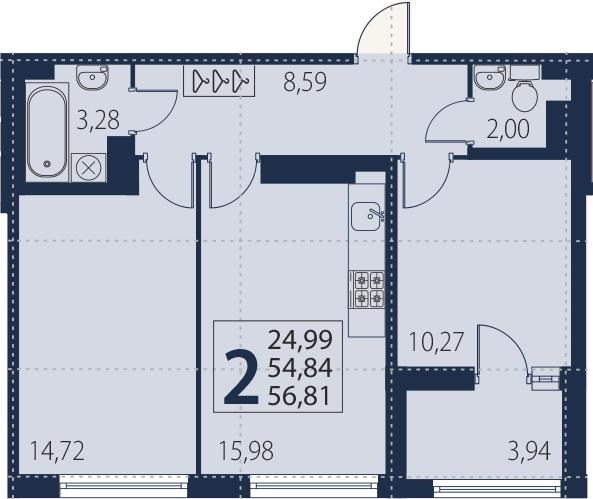 3Е-комнатная, 54.84 м²– 2