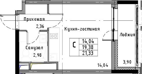 Студия, 21.33 м²