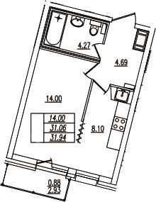 1-комнатная, 31.94 м²– 2