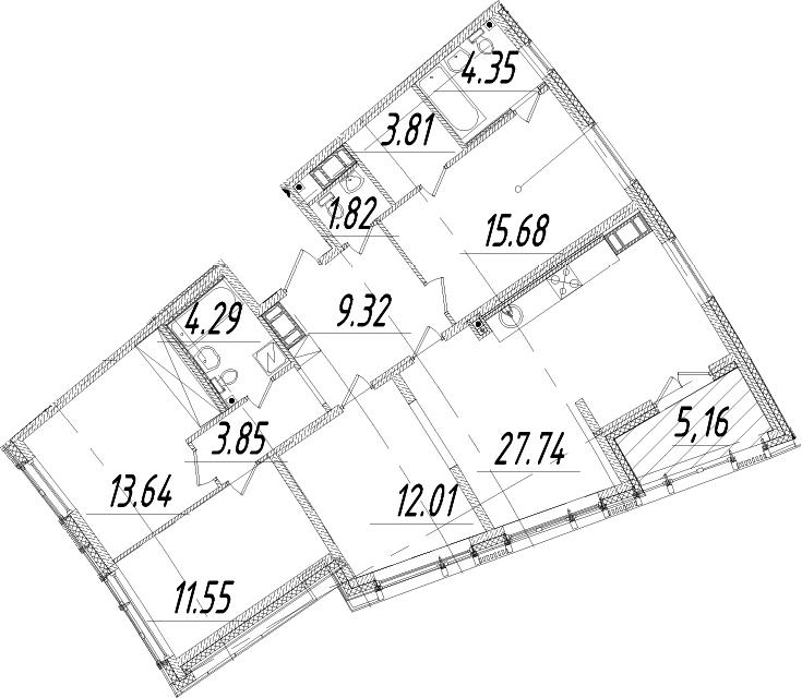5Е-к.кв, 110.64 м², 14 этаж