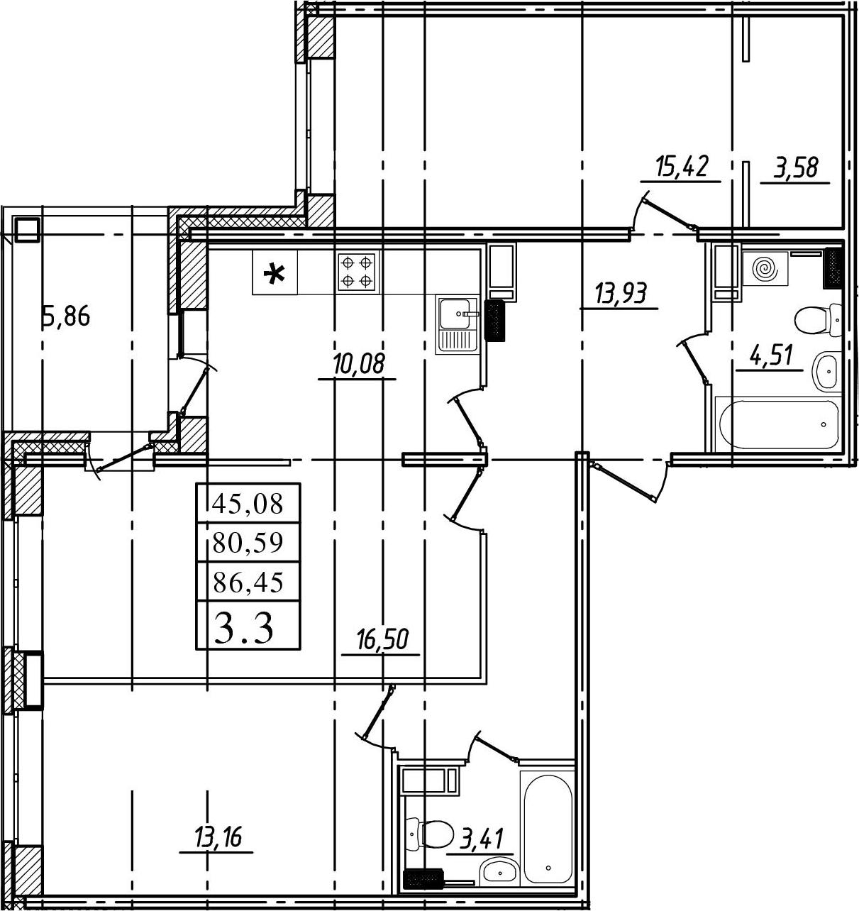 3-комнатная, 80.59 м²– 2