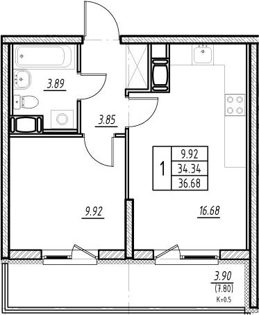 2-к.кв (евро), 42.14 м²