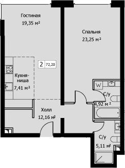 2Е-комнатная, 72.2 м²– 2