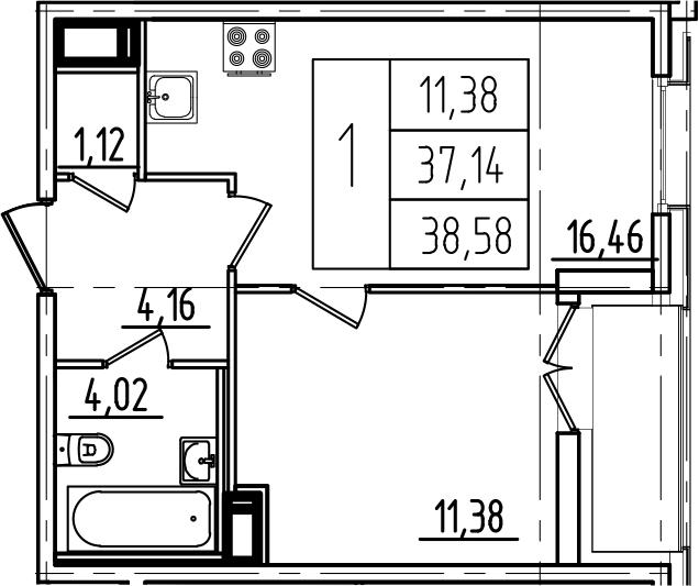 2Е-к.кв, 38.58 м², 11 этаж