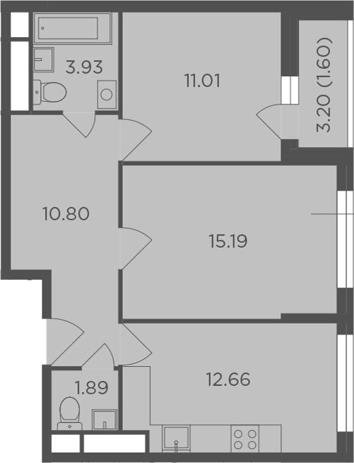 2-к.кв, 57.08 м², от 5 этажа