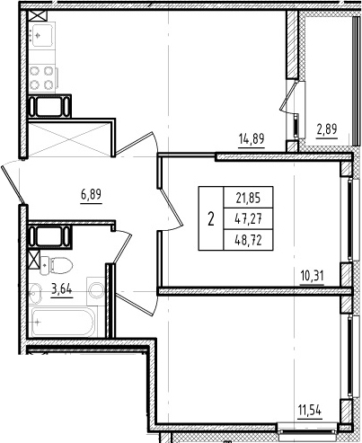 3Е-к.кв, 47.27 м²