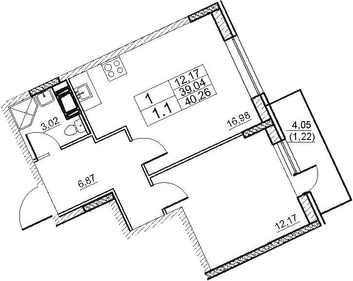 2-к.кв (евро), 43.11 м²