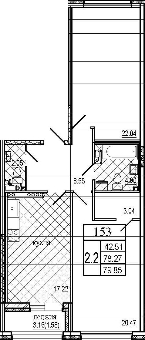 3Е-комнатная, 79.85 м²– 2