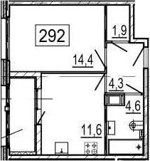 1-комнатная квартира, 38.9 м², 4 этаж – Планировка