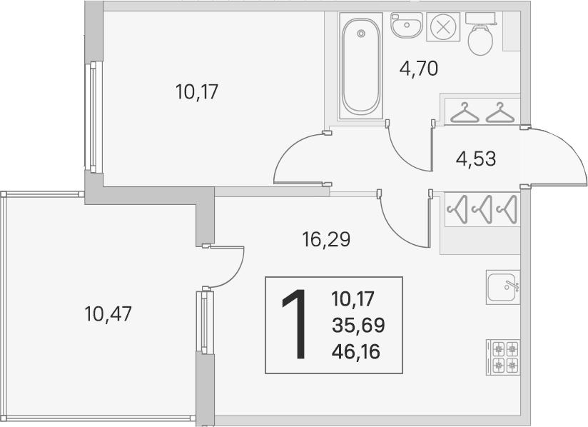 2Е-комнатная, 35.69 м²– 2