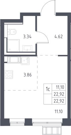 Студия, 22.92 м²– 2