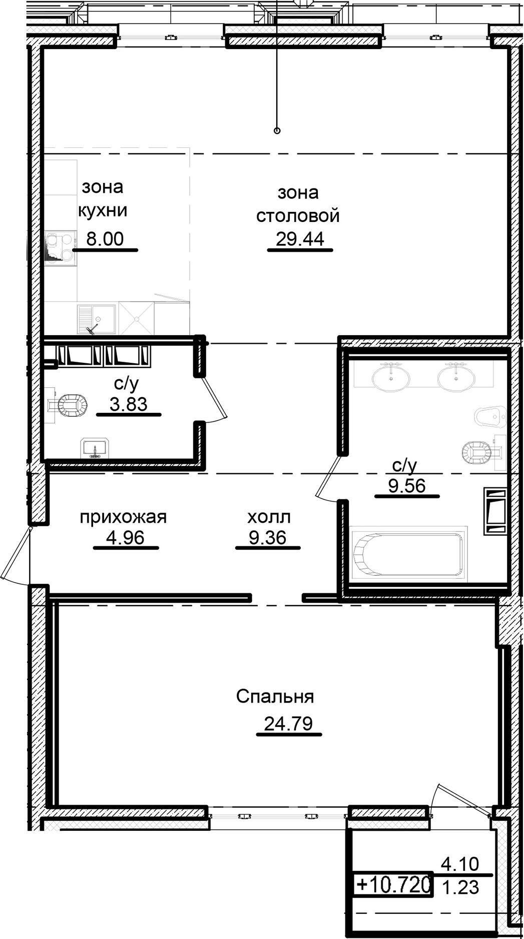 2-к.кв (евро), 94.04 м²