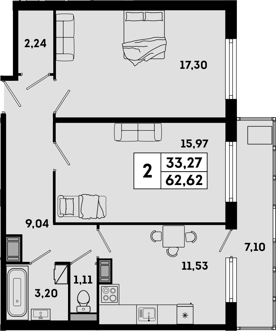 2-комнатная, 62.52 м²– 2