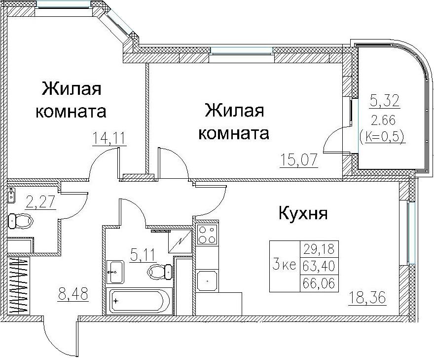 3Е-к.кв, 66.06 м², 2 этаж