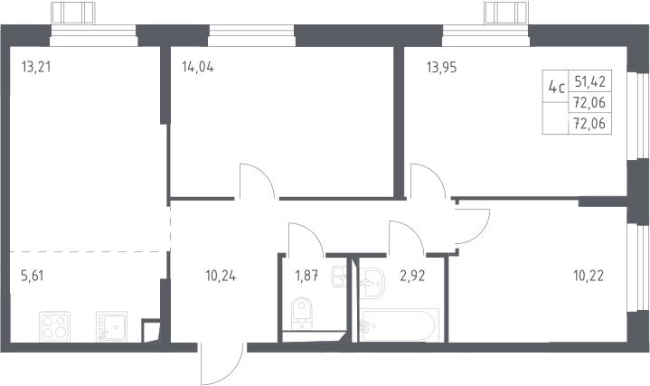 4Е-к.кв, 72.06 м², 2 этаж