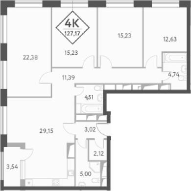 4-к.кв, 129.1 м²