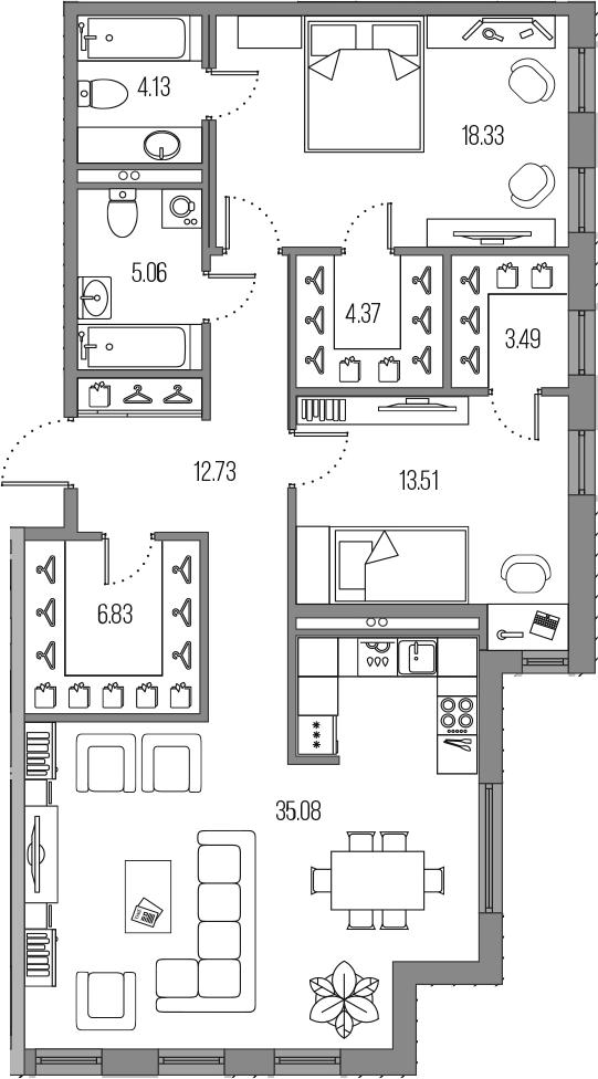 3-к.кв (евро), 103.53 м²