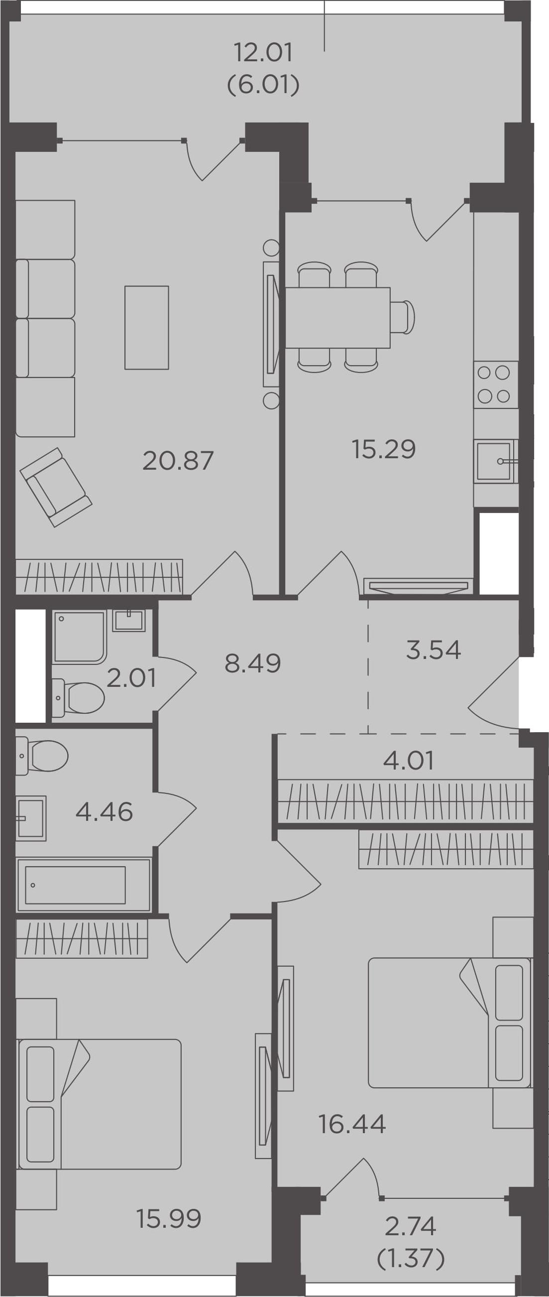 3-к.кв, 98.48 м², 10 этаж