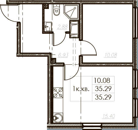2Е-к.кв, 35.29 м², от 10 этажа