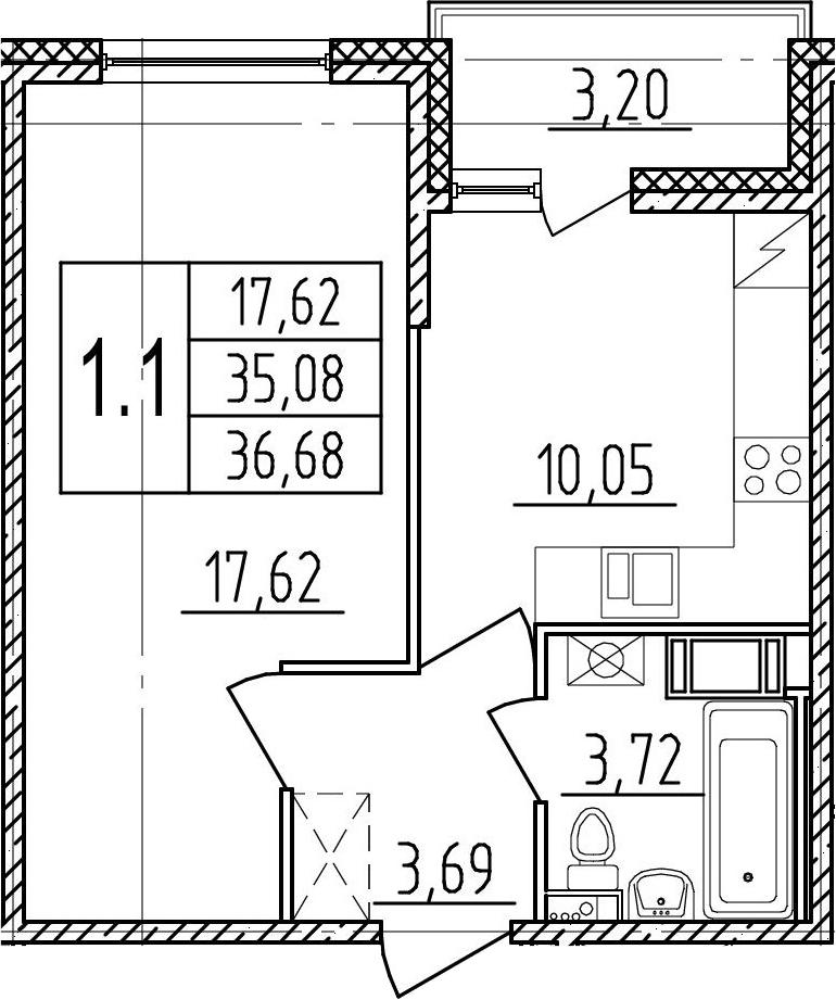 1-комнатная, 35.08 м²– 2