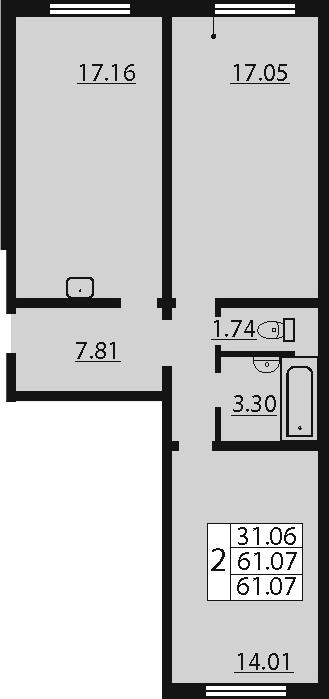 3-к.кв (евро), 61.07 м²