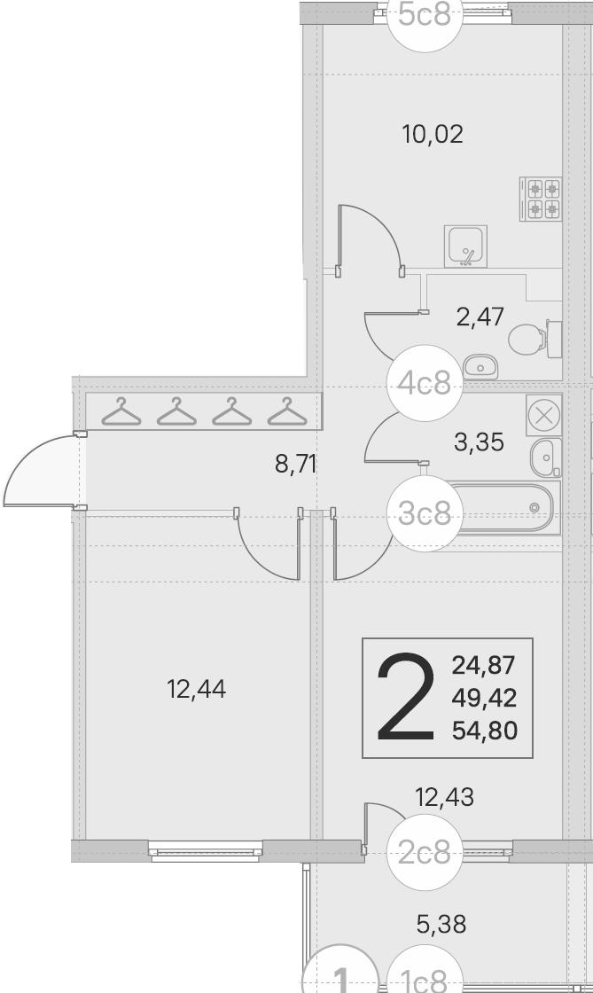 2-к.кв, 49.42 м²