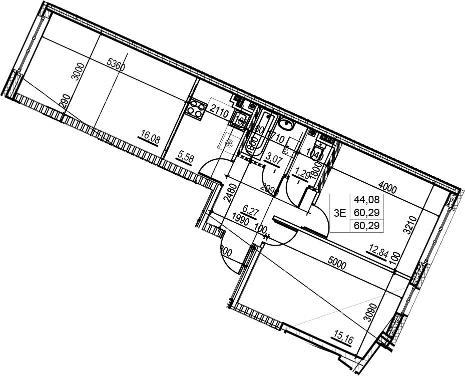 3Е-комнатная, 60.29 м²– 2