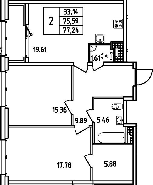 3Е-комнатная, 77.24 м²– 2