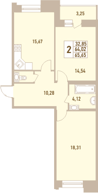 2-к.кв, 65.65 м²
