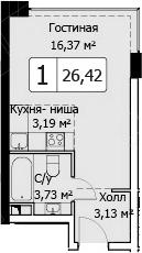Студия, 26.42 м²
