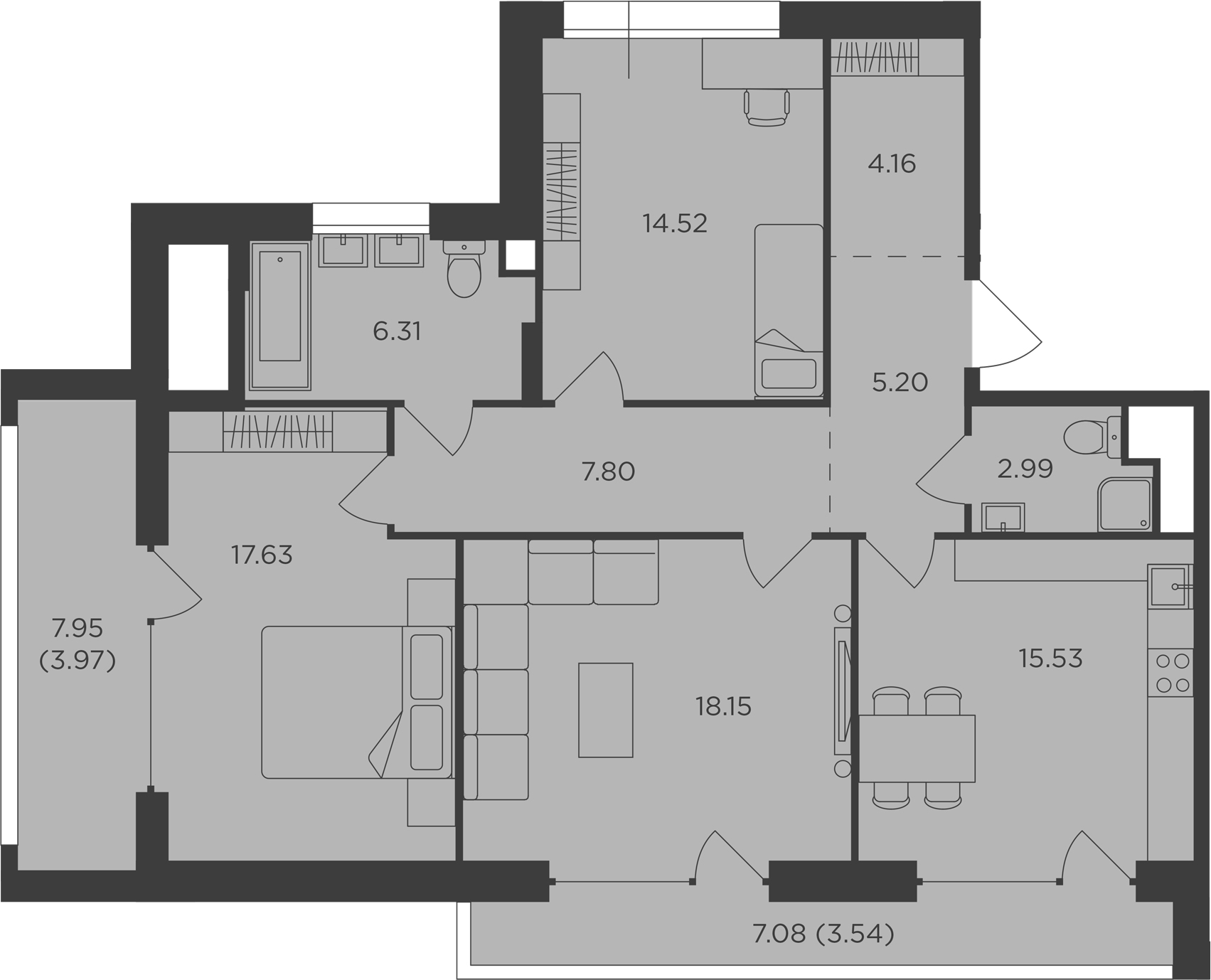 3-комнатная, 99.8 м²– 2