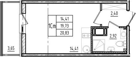 Студия, 19.73 м²