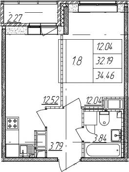 2-к.кв (евро), 34.46 м²