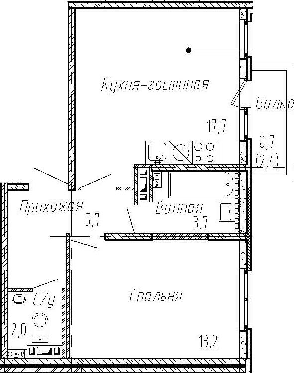 2Е-комнатная, 42.3 м²– 2
