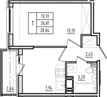 1-к.кв, 26.81 м², 16 этаж
