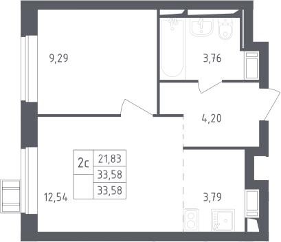 2Е-к.кв, 33.58 м², 17 этаж