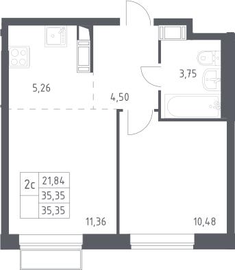 2Е-к.кв, 35.35 м²