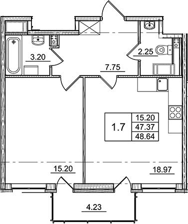 2Е-к.кв, 47.37 м²