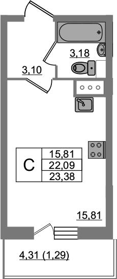 Студия, 23.38 м²– 2