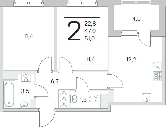 2-комнатная, 47 м²– 2