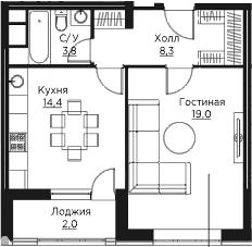 1-к.кв, 49.5 м²