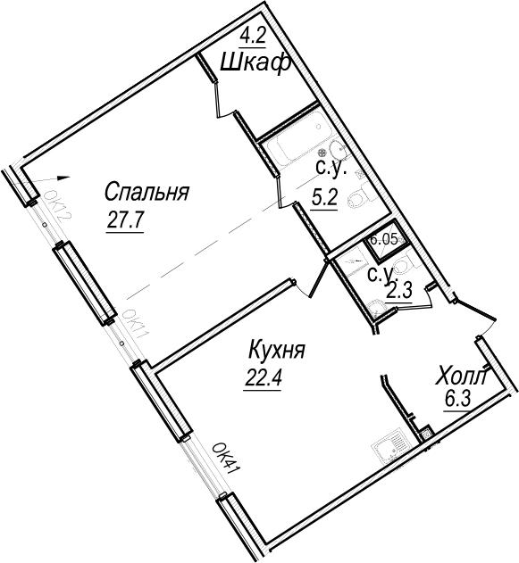 2Е-комнатная, 68.1 м²– 2